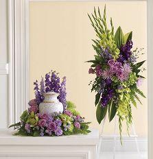 Urn arrangement and easel spray