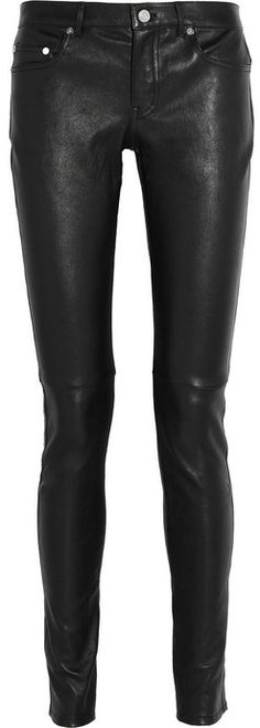 $2,990, Black Leather Skinny Pants: Saint Laurent Stretch Leather Skinny Pants. Sold by NET-A-PORTER.COM. Click for more info: http://lookastic.com/women/shop_items/149574/redirect