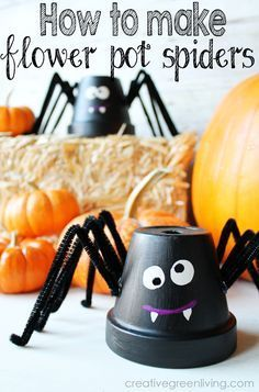 Make a fun Halloween spider craft with a  flower pot, pipe cleaners and paint. This spider is so cute and perfect for making with kids or by yourself!