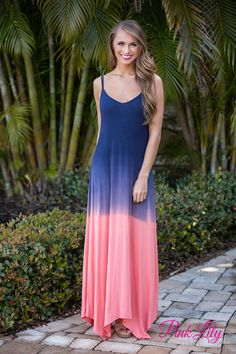 You'll think you're floating on the ocean while wearing this dress! Shades of blue and coral blend together to create a gorgeous color combination that reminds us of a sunset at sea, while the fabric is very soft and comfortable