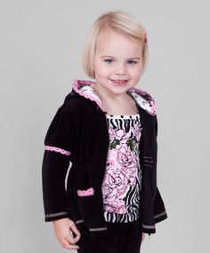 Take a look at this Black Velour Zip-Up Hoodie - Toddler & Girls by Bye Bye Birdie on #zulily and #fall today!