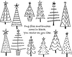 Doodle Weihnachten B ume digitale Clipart Photoshop Etsy Christmas Doodles, Diy Christmas Cards, Christmas Art, Christmas Desserts, Christmas Clipart, Xmas, Christmas Tree Drawing Easy, Christmas Tree Template, Primitive Christmas Tree
