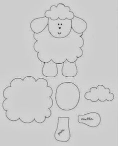 Pattern for the felt sheep which could be changed into a kitty Applique Templates, Applique Patterns, Applique Designs, Sheep Crafts, Felt Crafts, Easter Crafts, Sewing Art, Sewing Crafts, Sewing Projects