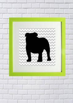 English Bulldog silhouette chevron - Art Print -  Black white grey gray . Home Decor / Wall decor / Wall Art / Nursery Decor / Kitchen Decor on Etsy, $10.00 Nursery Wall Art, Wall Art Decor, Nursery Decor, Chevron Kitchen, Chevron Art, Dog Rooms, Proud Mom, Puppy Love, Art Boards