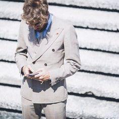 Me @ PITTIUOMO86 ; man suit by Isaia Napoli