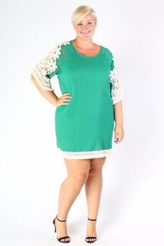 dc4dedba2dc Plus Size Clothing for Women - Crochet Shift Dress - Green (Sizes 14 - 22