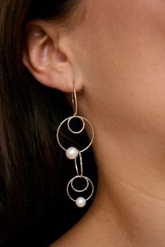 These gorgeous lightweight earrings are our best sellers ever! Available as hook only, they feature sterling silver rings sprinkled with pearls. Just $80 from mhoriginals.com.au ❤