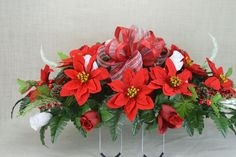 NO. CS006 Holiday Christmas Silk Flower Cemetery, Tombstone Saddle, Cemetery flowers , Grave flowers, Cemetery Saddle. by AFlowerAndMore on Etsy