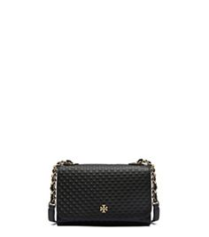 Black Tory Burch Marion Embossed Shrunken Shoulder Bag