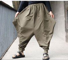 Men Japanese Samurai Style trousers Boho Casual Low Drop Crotch Loose pants Linen Harem Baggy Hakama Pants 102403 - Men's style Samurai Pants, Harem Pants, Trousers, Men's Pants, Rare Clothing, Baggy, Loose Pants, Drop Crotch, Linen Pants