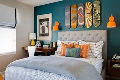 Dazzling cal king headboard in Kids Transitional with Blue Accent Wall next to Teen Boys Bedroom Ideas alongside Boy Bedroom and Grey And Orange