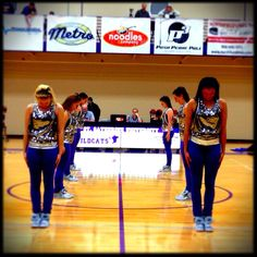 ready to perform hip-hop! Notice the great purple pants and sparkly Dance Team Uniforms, Purple Pants, Dance Studio, Dance Outfits, Coaching, Hip Hop, Basketball Court, Ideas, Training