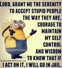 Lord, grant me the serenity to accept stupid people the way they are. Minions Quotes