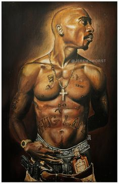 JEREMY WORST Tupac 2012 Canvas Print 45 x 26 by JeremyWorst Makaveli 2pac tupac shakur thuglife westside art painting drawing print jack daniels she squats bro sexy naked fitness workout urban art black art artwork painting drawing sketch