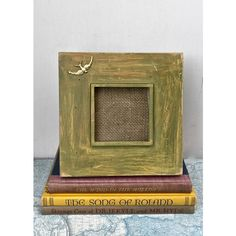 """4"""" Square Bird Photo Wood Frame Rustic Green Yellow Paint Distressed... ($22) ❤ liked on Polyvore featuring home, home decor, holiday decorations, holiday home decor, wooden home accessories, bird home decor and wood home decor"""