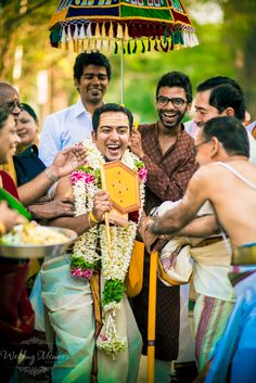 Kasi yatrai at a Tamil Brahmin wedding. A playful tradition where a few minutes prior to the wedding, the groom gets cold feet and pretends to leave for Kasi to become an ascetic. The Bride's father, then pacifies and convinces him to marry his daughter.