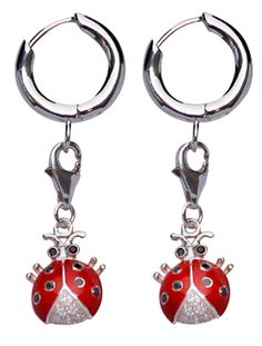 Sterling Silver Earrings: Crystal Gemstone Ladybug with Red and Black Enamel - http://silverandgold.com/bn97632ea.html