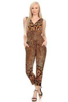 Leopard Animal Print Ruffle Fashion Jumpsuit Romper