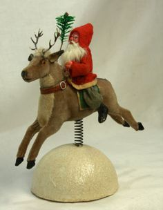 Antique German Santa on Reindeer Candy Container Spring Snowball C1910 | eBay