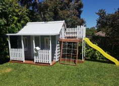 The Flagstaff is our most popular cubby house design. View this cubby and more at our display located at 21 Woods Street Beaconsfield Victoria. Kids Cubby Houses, Kids Cubbies, Play Houses, Tree Houses, Shed Playhouse, Playhouse Outdoor, Backyard Playground, Backyard For Kids, Toy House