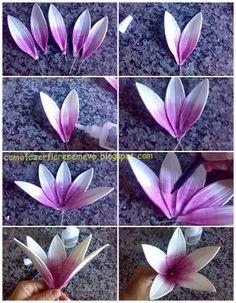 Como fazer flores em eva passo a passo e muito mais...: Passo a passo da montagem da flor do lírio asiático