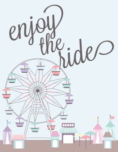 Free printable for your summer decorating.  Enjoy the ride this summer with a vintage ferris wheel artwork from Houseful of Handmade.