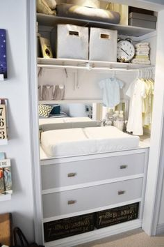 Create more space in the baby's room by tucking all your nursery needs in the closet. Lisa Janvrin, owner of YouthfulNest, designed this adorable space that includes changing table and drawers for baby supplies. The clothing rack above the changing table is all you need for a wee little wardrobe.