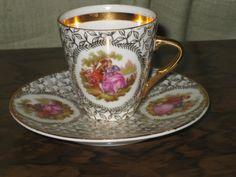 Limoges teacup and saucer, Limoges demitasse cup and saucer with Fragonard scene, Limoges porcelain,