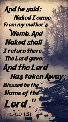 Job 1:21 Blessed be the Name of the Lord