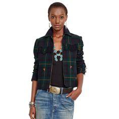 Tartan Fringed Full-Zip Jacket - Jackets & Vests  Women - RalphLauren.com