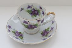 Vintage Lefton Demitasse Cup and Saucer - Violets Purple Flowers Gold Trim - Entertaining - Fine China - Serving - Collectible - Gift Idea by shabbyshopgirls on Etsy