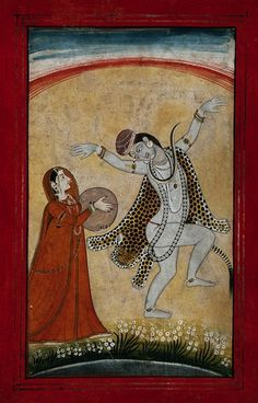 Shiva dances as Parvati plays music. 19th C. India