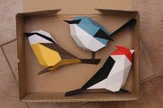 Aves de papel/ Paper birds by Estudio Guardabosques, via Behance