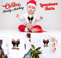Disney Christmas matching Family Long Sleeve Custom shirts Reindeer Mickey,Family Matching shirts from 6 Months Onesie up to Adults by Bachelorettees on Etsy Disney Christmas, Christmas Shirts, Family Christmas, Disney Vacations, Disney Trips, Vacation Trips, Holiday Photos, Holiday Gifts, Matching Shirts