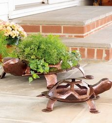 Handmade Hammered Iron Turtle Planter