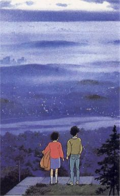 Whisper of the Heart. Shizuku and Seiji watch the sunset together and confess their love for each other.