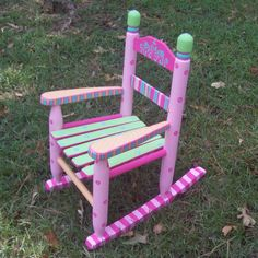 Rocking Chair Hand Painted Sherbet Color Rocking by vivyscloset Painted Rocking Chairs, Hand Painted Chairs, Whimsical Painted Furniture, Childrens Rocking Chairs, Hand Painted Rocks, Hand Painted Furniture, Furniture Redo, Painting Furniture, Outdoor Furniture