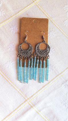 Βοho light blue earrings Blue Earrings, Light Blue, Boho, Bohemian, Pastel Blue, Light Blue Color