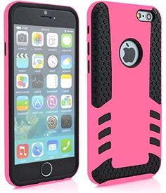 """myLife 2 Layer Neo Hybrid Bumper Case for iPhone 6 Plus (5.5"""" Inch) by Apple {Rose Pink + Black """"Rugged Modern Design"""" Two Piece SECURE-Fit Rubberized Gel} myLife Brand Products http://www.amazon.com/dp/B00P9Q80PC/ref=cm_sw_r_pi_dp_bp5yub0C2ZVEE"""