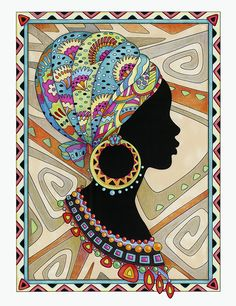 """From the coloring book """"African Glamour"""" by Marjorie Sarnat. - From the coloring book """"African Glamour"""" by Marjorie Sarnat. The Effective Pictures We Offer Yo - African Art Paintings, African Artwork, Creative Haven Coloring Books, Afrique Art, Dot Art Painting, Fabric Painting, Black Art Pictures, Indian Folk Art, Madhubani Painting"""
