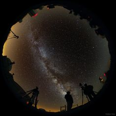 Amateur astronomers enjoy astrophotography under starry sky of Teide Observatory, Tenerife #canaries #travel #photography