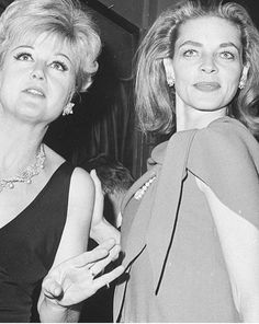 Angela Lansbury and Lauren Bacall at a party 1966