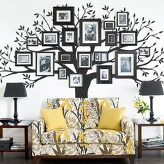 Family Tree Wall Decal by Simple Shapes - Large Tree Decal - Wall Decor - Wall Decals & Murals - Bla Family Tree Wall Sticker, Bird Wall Decals, Tree Decals, Family Wall, Wall Art, Wall Mural, Family Room, Family Tree Photo, Family Photos