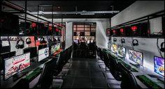 Sport Bar Design, Club Design, Lounge Design, Gaming Lounge, Gaming Room Setup, Gaming Center, Retro Arcade Games, Arcade Room, Maze Design