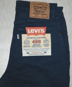 VINTAGE LEVIS 498 WHITE TAB SKINNY INDIGO BLUE JEANS STRETCH W31 L30