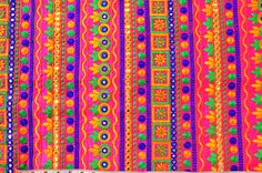 Hot pink multicolor embroidered mirror fabric Indian fabric