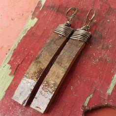 Long Birch Bark Wood Earrings
