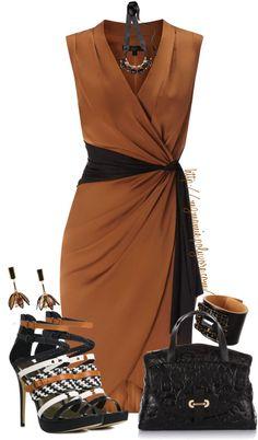 Bonito vestido combinado color café ladrillo y negro