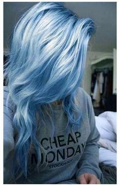 Blonde And Blue Hair, Baby Blue Hair, Pastel Blue Hair, Dyed Hair Blue, Lilac Hair, Hair Color For Black Hair, Cool Hair Color, Green Hair, Light Blue Hair Dye