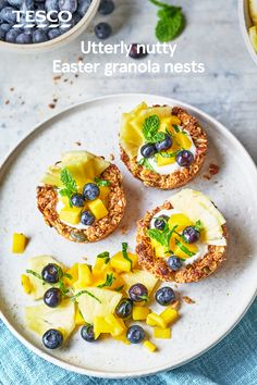 Brunch just got better with these gorgeous granola nests. Crunchy, nutty edible bowls are filled with yogurt and fruit for an Easter-themed breakfast or special brunch. | Tesco